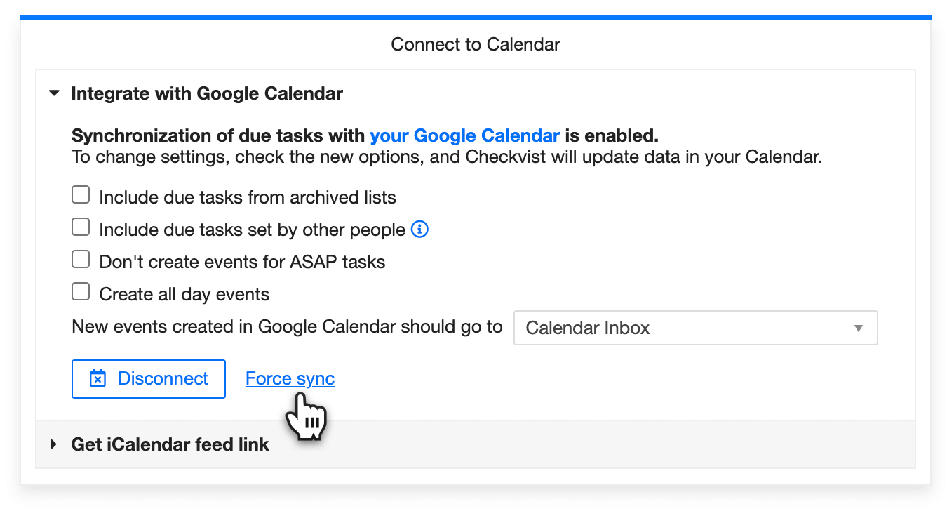 Force sync Checkvist and Google Calendar