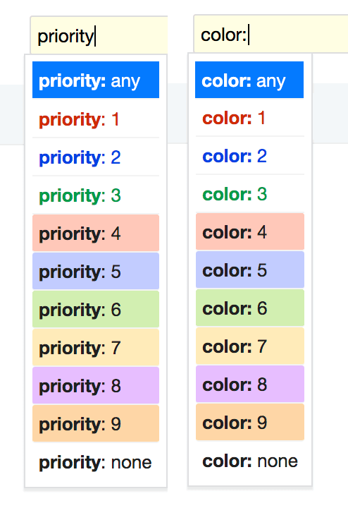 Search and filter by priority colors