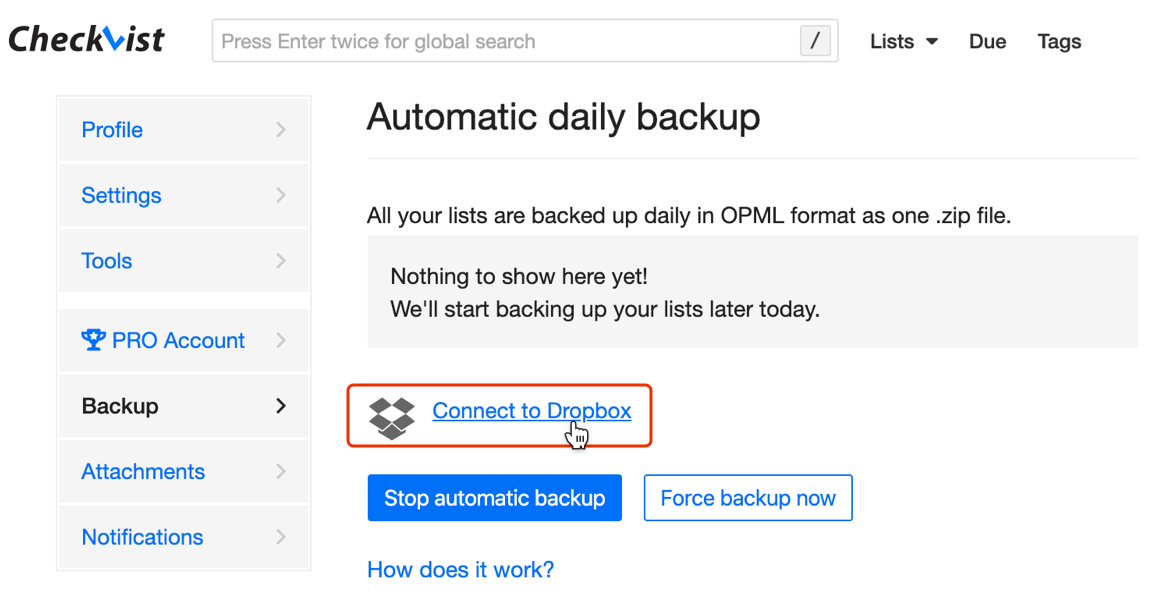 Configure the Dropbox integration on your profile page
