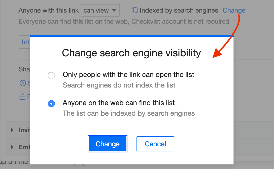 How to change search engine visibility
